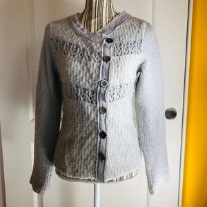 Free People Gray Crochet Knit Button Wool Sweater